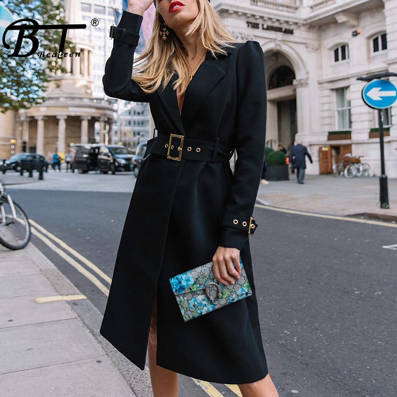 Beateen New Hot Style Black Turn down Collar Dress With Sashes Formal Wear to Work For Lady Fashion Autumn Winter