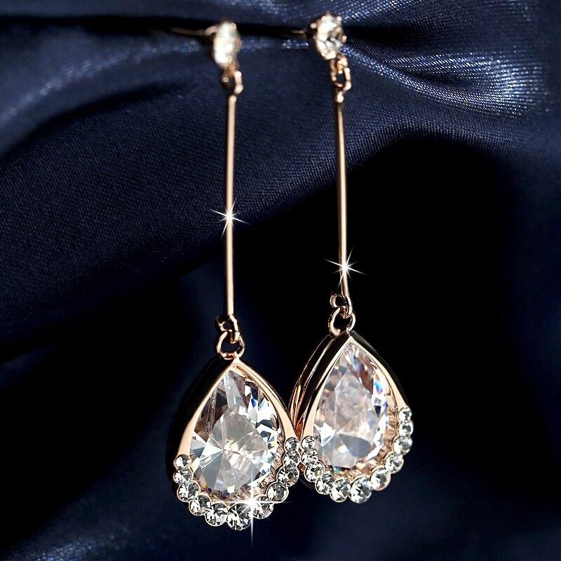 famous brand women jewelry Teardrop Earrings long all match female Korean fashion temperament earring Earrings girlfriend gift