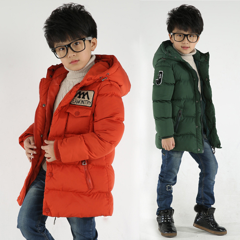 Children's jacket 2018 new style fashion thick coat jacket and long sections Kids big virgin boy fall and winter clothes padded puma style padded jacket w forest night