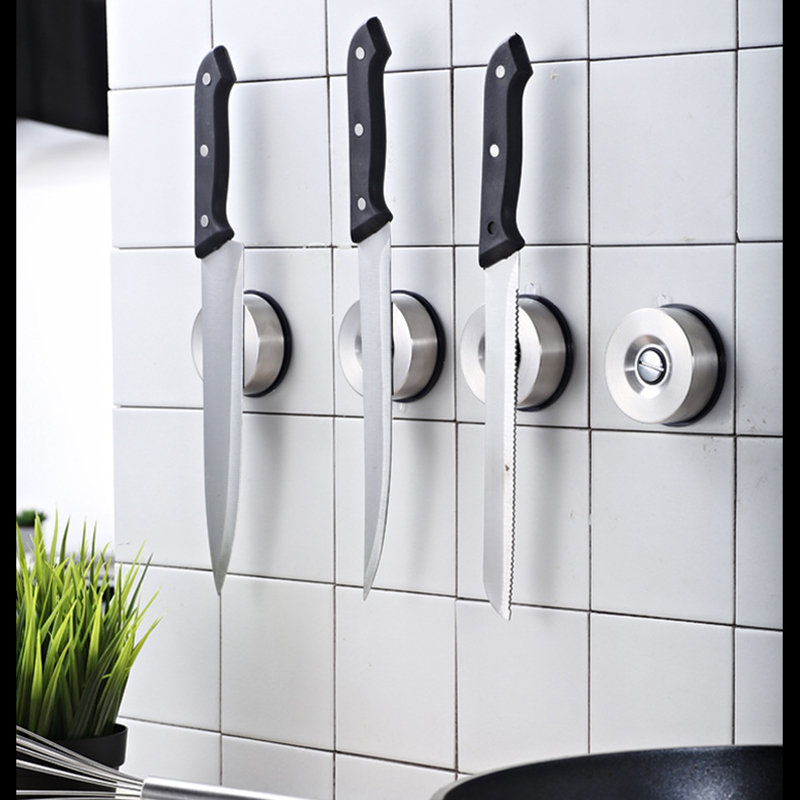 Creative Mini Magnet Knife Stand Rack Stainless Steel Wall-Mounted Sucker Magnetic Knife Holder Multifunction Knife Block Tools
