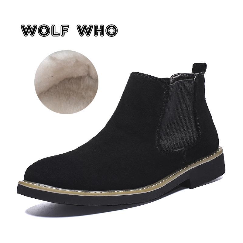 WOLF WHO 2019 New Handmade Men Chelsea Boots Fashion Leather Ankle Boots Male High quality Slip On Warm Big Size Man Shoes X-198 image