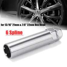 3,5 zoll 0,8 zoll Silber 6 Spline Drive Räder Lock Tuner Lug Mutter Schlüssel Hex Kopf