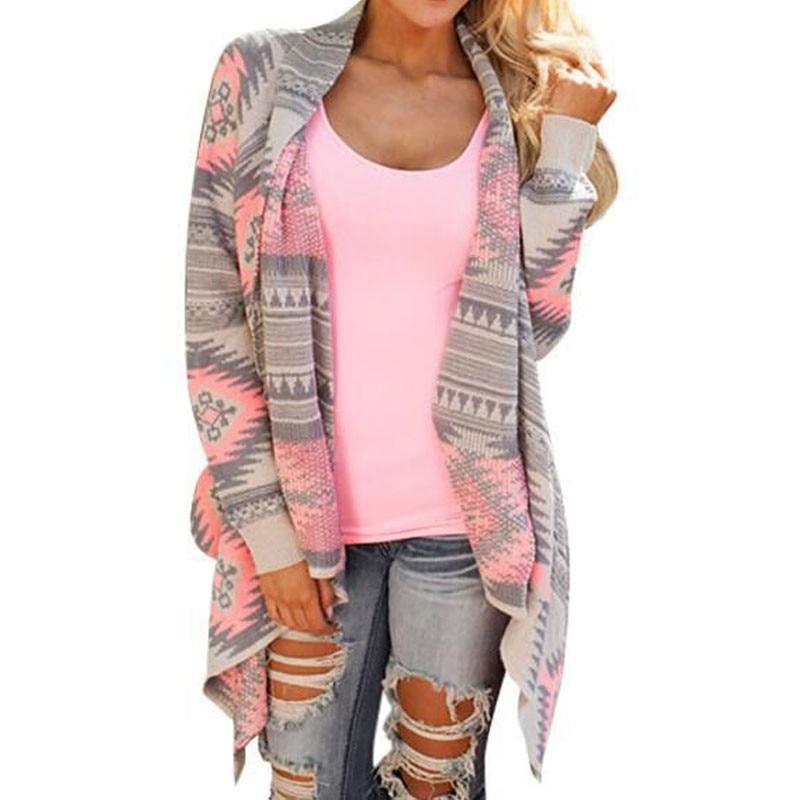 Women Long Cardigan Long Sleeve Knitted Poncho Sweater Coat Tribal Print Asymmetrical Cardigans Jacket Outwear Pull Femme