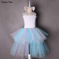 Fancy Girls Tutu Dress Pastel Rainbow Princess Unicorn Dress With Headband Halloween Costume For Kids Girl