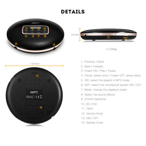 Image 2 - HOTT Portable CD Player With LCD Headphone Jack Anti Slip Shockproof Protection Compact CD Music Disc Walkman Player