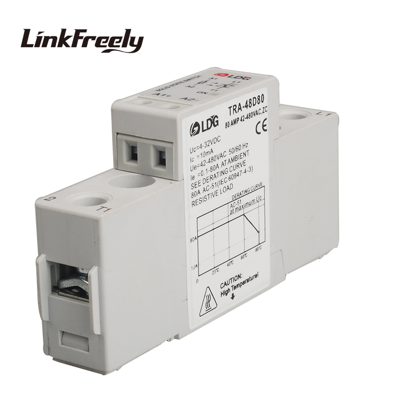 цена на TRA-48D80 mini single phase Solid State Relay SSR 80A DC/AC input 4-32V DC output42-480VAC electrical voltage control relay