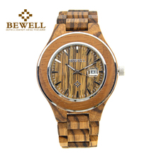 BEWELL Wooden Men Watch Moment Writs Lover's Top Brand Luxury Clock Watches With Complete Date Saat Relogios 100AG