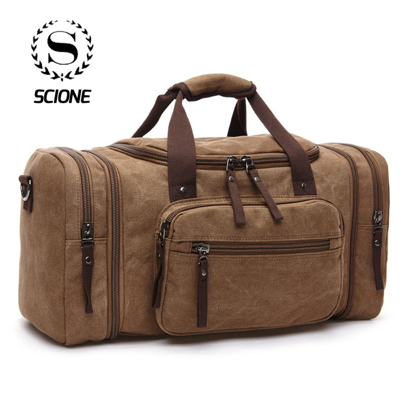 Scione New Arrive Men Travel Luggage Hand Bags High Quality Canvas Duffel Shoulder Fashion Large Capacity Overnight Tote Pocket