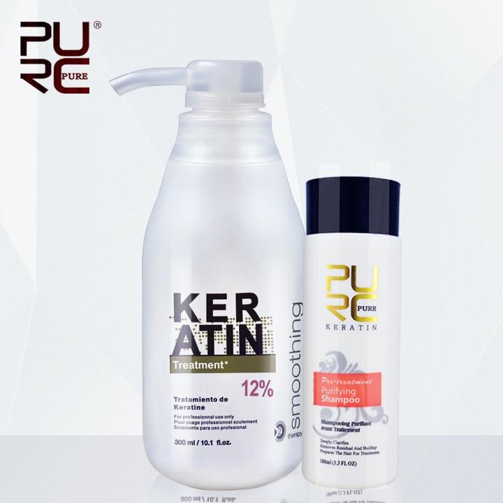 PURC Brasilianische keratin 12% formalin 300 ml keratin behandlung und 100 ml reinigende shampoo haar richt haar behandlung set