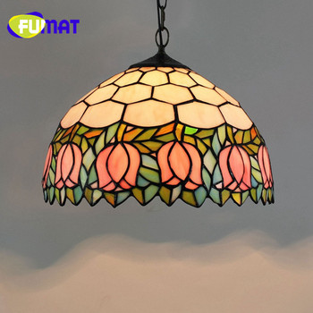FUMAT European Creative Tiffany Stained Glass Blue Love Vintage Restaurant Yellow Dragonfly Pink tulip Living room Chandelier