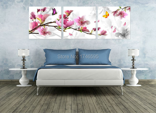 كبيرة الحجم 3 قطعة ماغنوليا الوردي زهرة زهرة جدار صورة فنية لغرفة المعيشة غرفة نوم المنزل جدار ديكور فني لوحة قماش بطباعة فنية