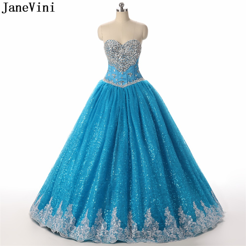 JaneVini Elegant Ball Gown Long   Bridesmaid     Dresses   Sweetheart Appliques Sequined Crystal Luxury Princess Tulle Prom Party Gowns