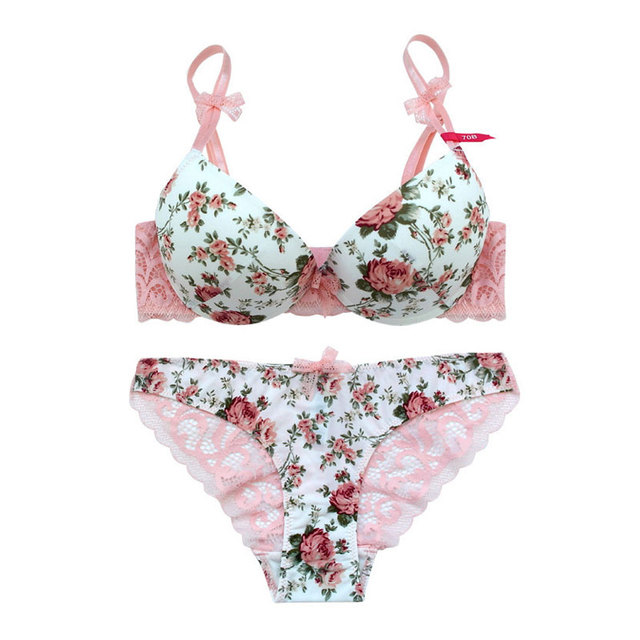 Print Bra set Silk Lace Flower Hollow out Panties