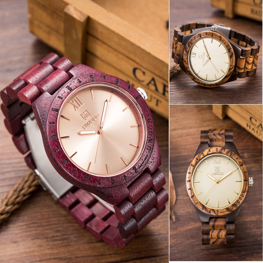 2018 New UWOOD UW1001 Fashion Unique Wood Wristwatch Men's Japan Movement Quartz Watch Classic Folding Clasp with Wooden Band 2016 natural bamboo wood wristwatch japan quartz movement 2035 army nylon fabric strap new fashion wood watch with nylon band