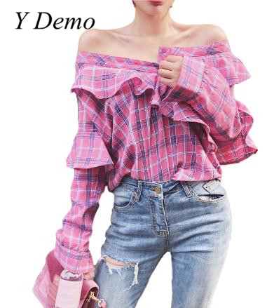 2018 Female Sexy Shoulder Off Plaid Shirt Ruffles Casual Sweet Long Sleeve Chic Shirt Tops