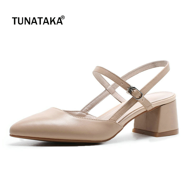 Genuine Leather Comfort Square Heel Pointed Toe Woman Sandals Fashion Buckle Dress High Heel Shoes Summer Shoes Woman Beige sandals new summer 2017 basic shoes woman open back strap sandal square heel fashion beige black 35 40 free shipping bassiriana