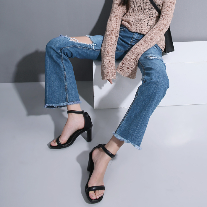 Women Early Autumn New Fund Retro Streets Hole Burrs Flared Jeans Super Repairing Leg Pants Blue