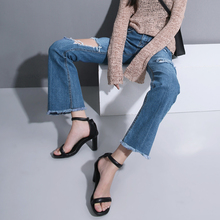 Women Early Autumn New Fund Retro Streets Hole Burrs Flared Jeans Super Repairing Leg Pants Blue Trousers Denim