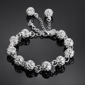 , Silver color exquisite Ball for women lady cute noble nice bracelet fashion charm chain jewelry wedding party gift LH014