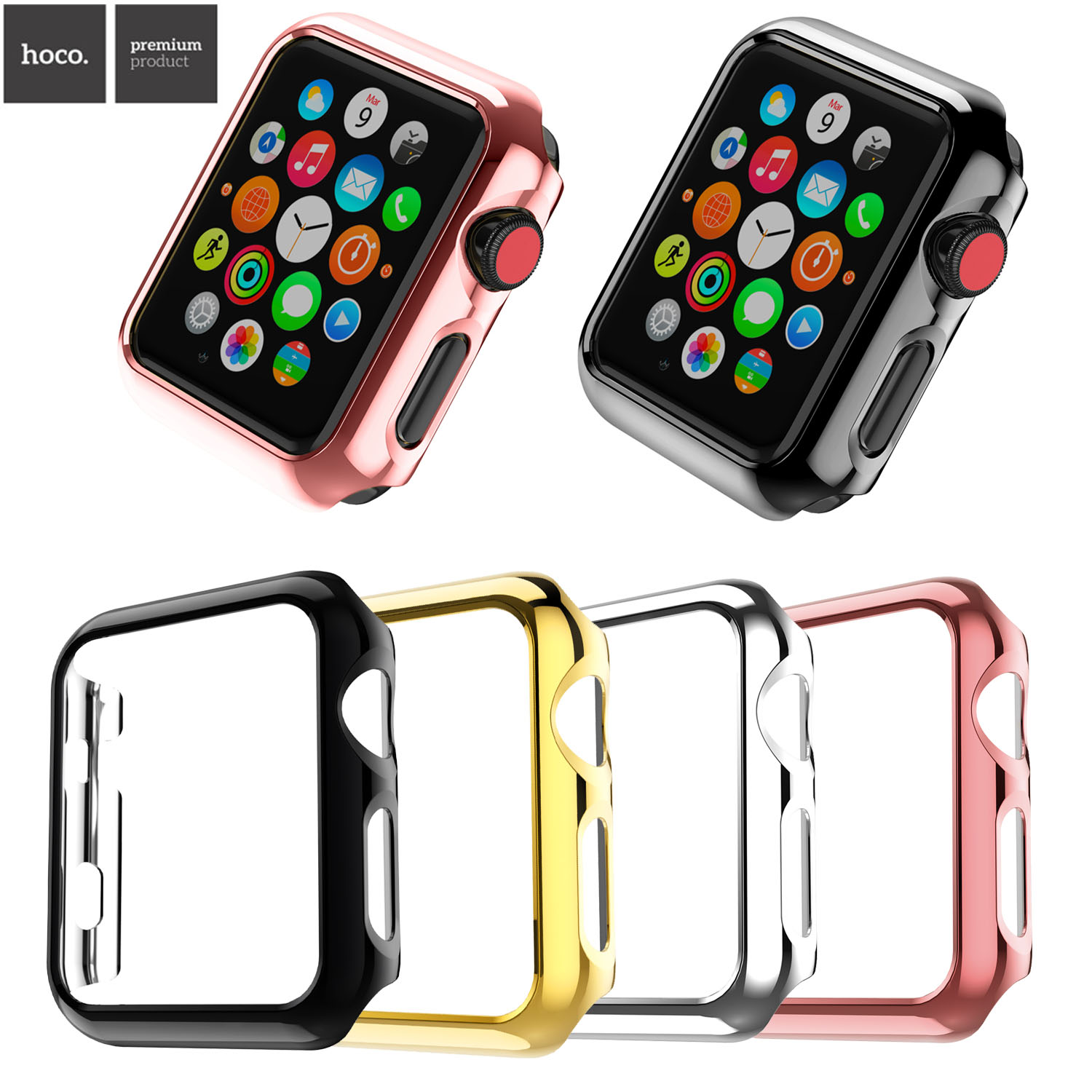 HOCO Brand Protection Hard Plastic Bumper Case for Apple Watch Series 3 Cover for iWatch Series 2 42mm 38mm Watch Cover Band new silicone case watch frame for apple watch series 3 2 1 38mm 42mm watch band full protection case cover for apple iwatch 3 2