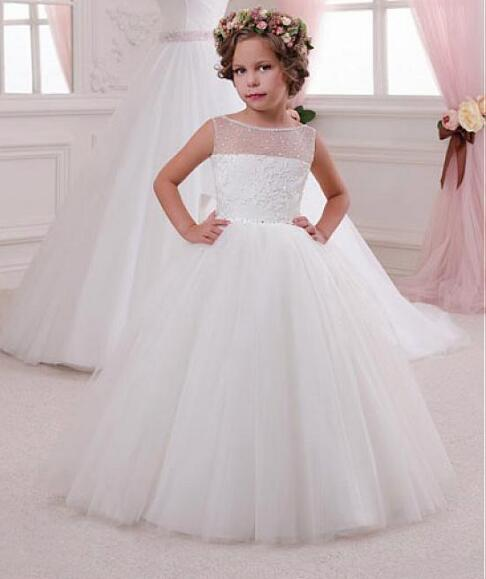Ivory White 2018 Flower Girl Dresses For Weddings Ball Gown Tulle Lace Beaded Long First Communion Dresses Little Girl white and ivory lace first communion dresses tulle mother daughter dresses for girls ball gown floor length flower girl dresses