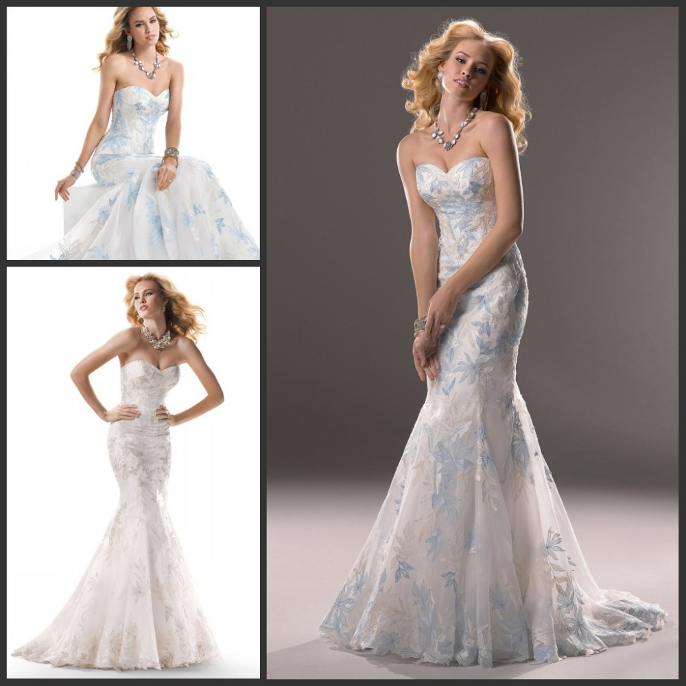 Royal blue and white sweetheart lace mermaid wedding for Royal blue and white wedding dresses