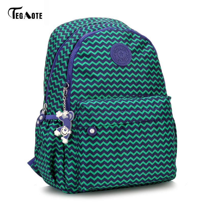 TEGAOTE Light Nylon Waterproof School Backpack for Teenage Girls Mini Student Bookbag Mochila Feminine Backpacks Leopard Pattern Рюкзак