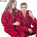 Mujeres hombres Parejas Pijamas Otoño Invierno Pijama de Franela Espesar de Dos Piezas Pijama Homewear Establece PA1738