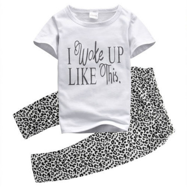 1cc0a1691033d Summer Fashion 2PCS Toddler Baby Girls Kids Outfit Short Sleeve Simple T-shirt  tops Leopard Pants Brief Clothing Casual Suit