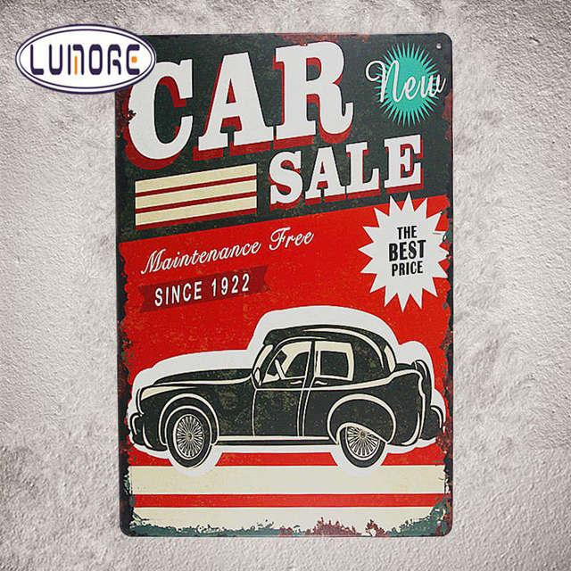Vintage Metal Tin signs Car Sale Craft Pub shabby chic Plate Garage