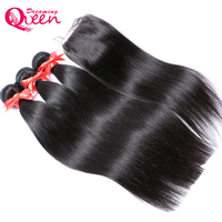 Brazilian Straight Human Hair 3 Bundles Weaves With 4x4 Lace Closure With Baby Hair 100 Remy