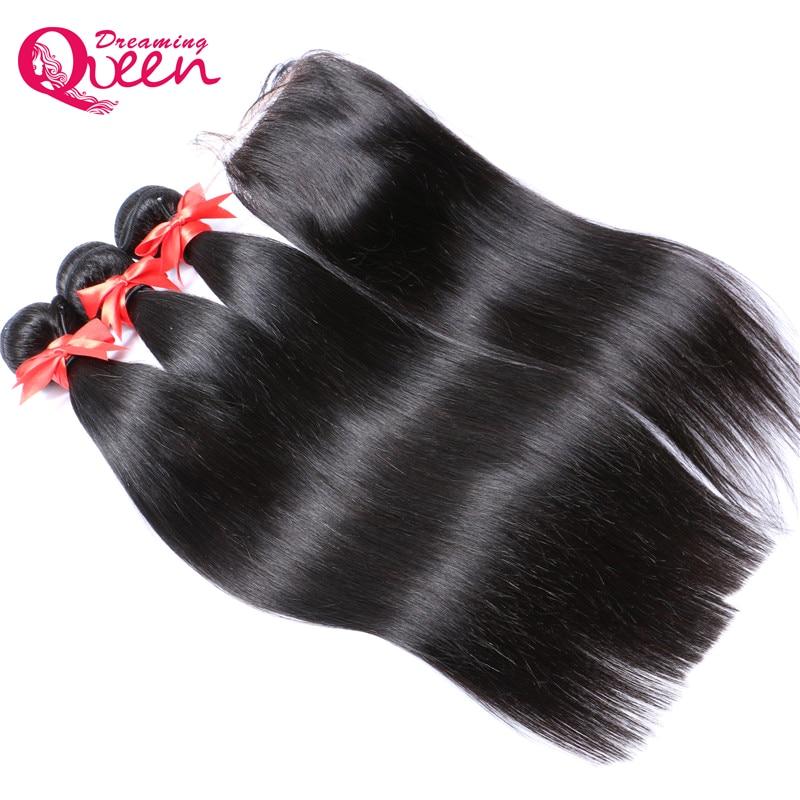 Brasilianskt rakt humant hår 3 buntar väver med 4x4 snörning med - Mänskligt hår (svart)