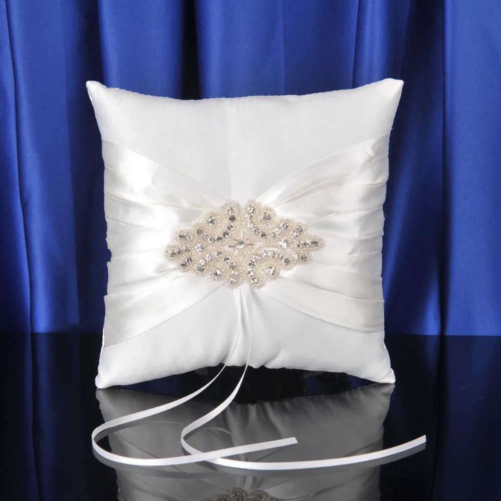Free shipping White Plaid Weeding Ring Pillow for Wedding Ceremony supplies