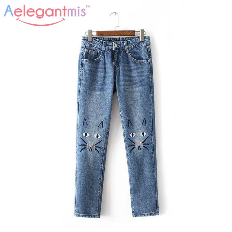 New Arrival Cute Cat Cartoon Embroidery Casual Jeans Women 2017 Autumn Straight Denim Pants