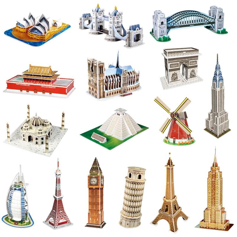 цена на Cubicfun 3D Puzzle DIY Toy Car Big Ben Titanic Taj Mahal Eiffel Tower Puzzle 3D Models Handmade Puzzle Kids Toys Christmas Gift