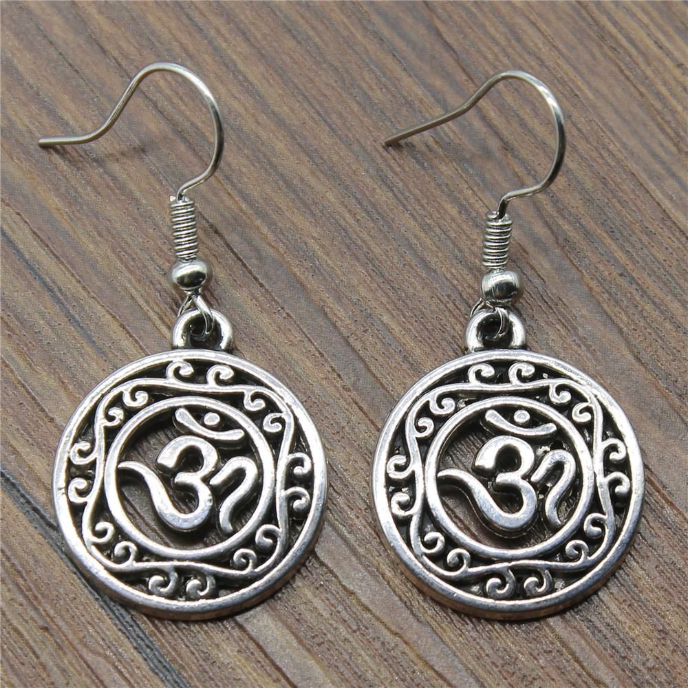 22x19mm Simple Hollow Carved Circle Om Symbol Charm Dangle Earring Charming Drop Earring Women Dropship Suppliers