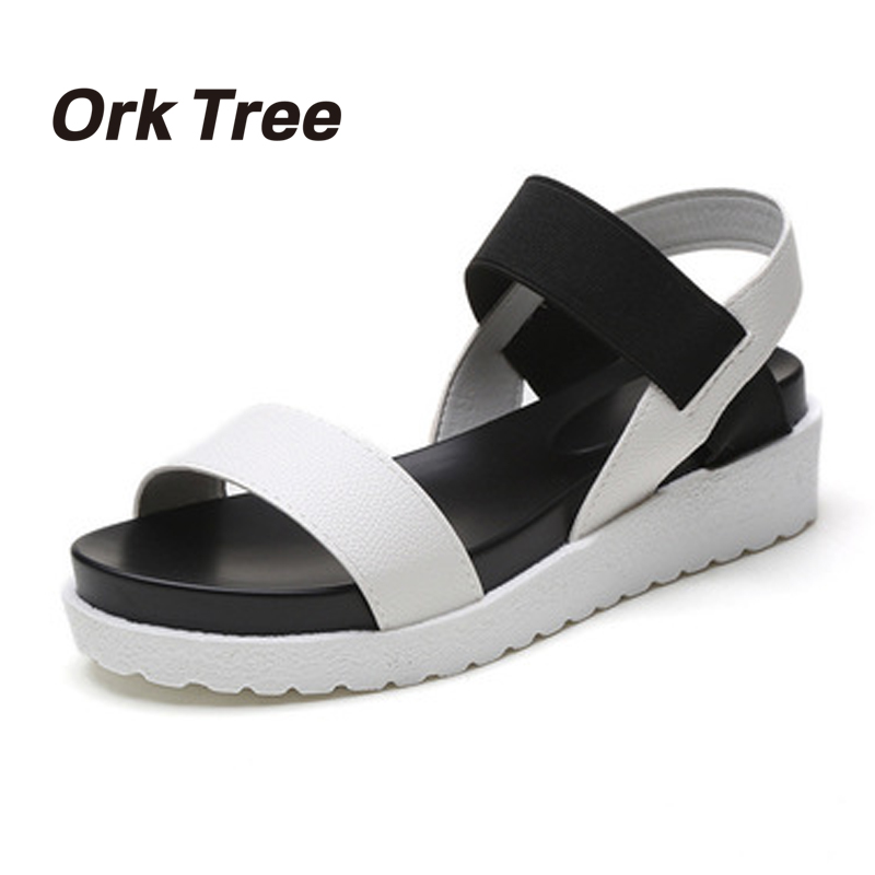 2017 Summer Flat Sandals Woman Fashion Comfortable Platform Open Toes Shoes Women Sandals Chaussure Femme 35