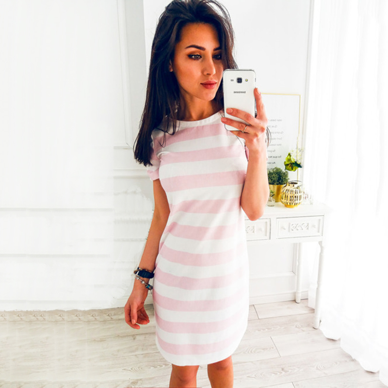 2018 Summer Fashion O-Neck Striped Black Beach Party Dresses New Women Office Casual Loose Temperament Mini Dress Vestidos