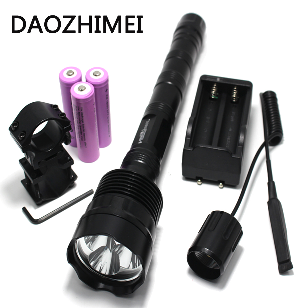 LED Hunting Flashlight 3800 Lumens 3 x XML T6 5 Mode 3T6 camping Torch Light suit Gun Mount + Remote Pressure Switch + Charger