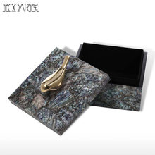Tooarts Jewelry Box with Copper Bird Wooden Trinket Decoration Ring Necklace Storage Box Birthday Gifts for Women Black Velvet(China)