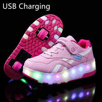 Two Wheels Luminous Sneakers USB Charging Led Light Roller Skate Shoes for Children Kids Shoes Boys Girls Shoes Light Up Unisex - DISCOUNT ITEM  5% OFF All Category