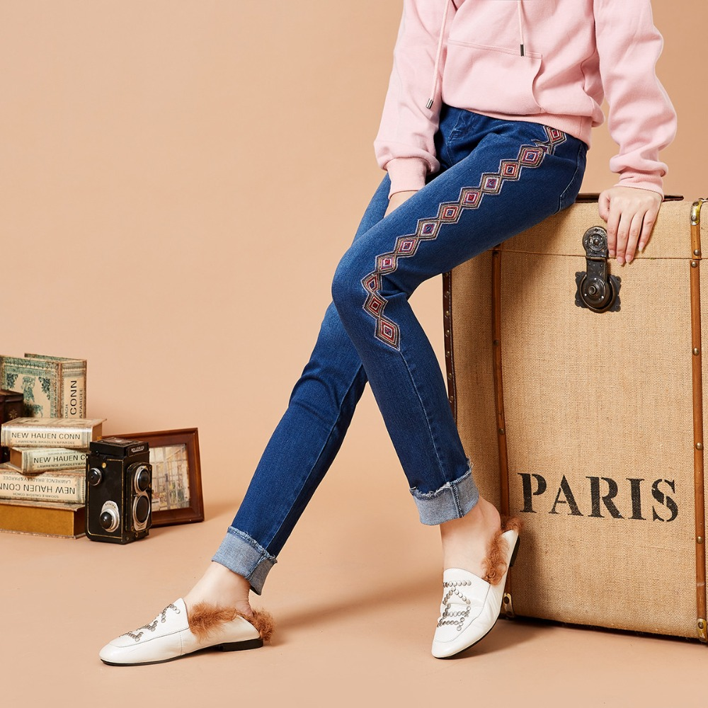 ARTKA 2018 Autumn and Winter Women Vintage Geometric Embroidery Pants Fashion Tassels All match Jeans KN15081Q