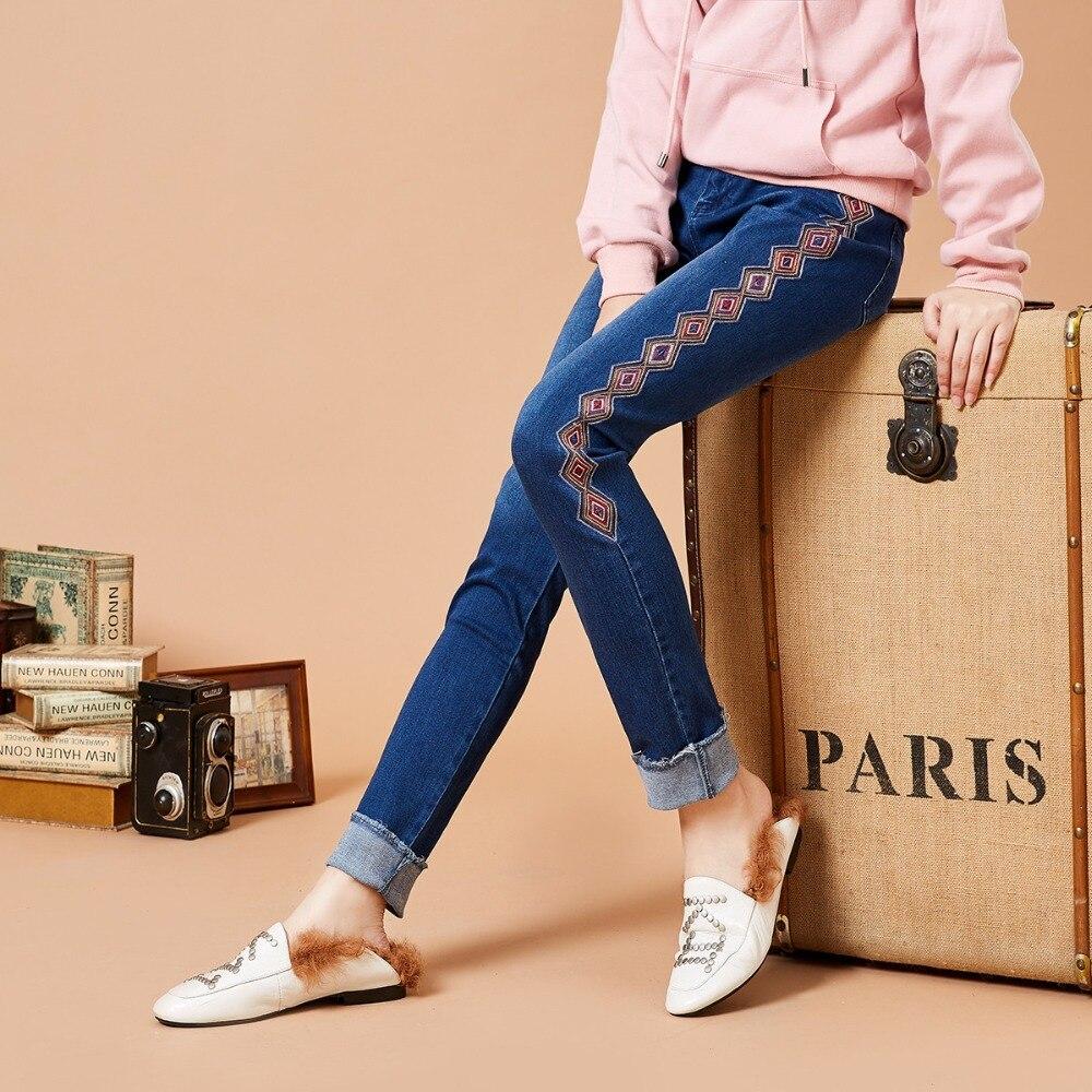 Kn15081q De Géométrique Automne Tout D'hiver Jeans Vintage allumette Broderie Femmes Artka Mode 2018 Et Bleu Glands Pantalon xzYpq7wZ