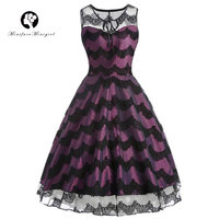 Minifaceminigirl Vintage Dresses Retro 1950s Style Elegant Party Dress Patchwork Luxury Vintage Dresses