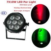 4 шт./лот 7x10 Вт RGBA 4в1 светодиодный прожектор DMX 512 Профессиональный для дискотеки, клуба для сцена на вечеринках и шоу свет светодиодный музык