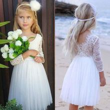 Party Wedding Baby Girls Dress Kids Baby Flower Lace