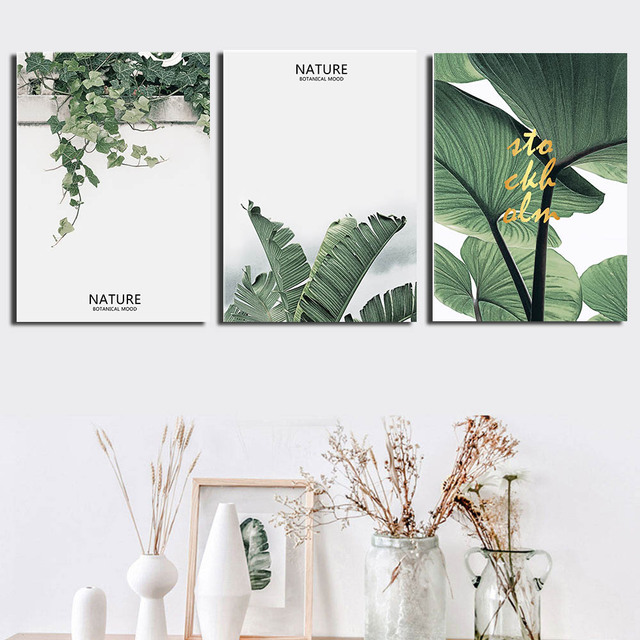 Watercolor Green Plants Monstera Nature Posters And Prints: 3 Panel Watercolor Plants Canvas Print Paintings Green
