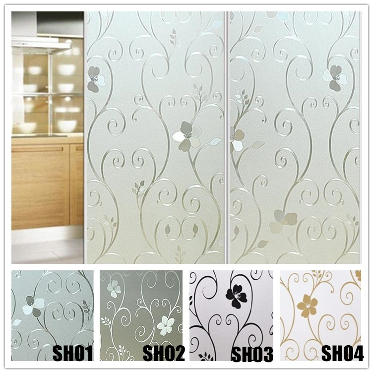 Non-adhesive Window Film Long-lasting Quick DIY 60 x 200 cm Easily Remove Etched flower white black gold glass Decoration