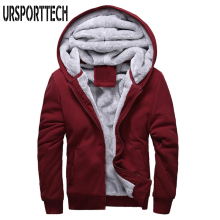 URSPORTTECH Hooded Casual Hoodies Clothing Mens Wool Liner Winter Thickened Warm Coat
