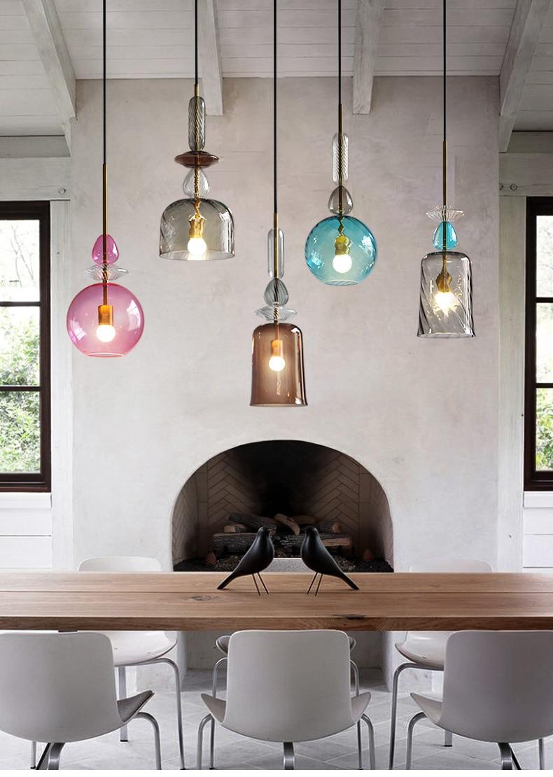 Modern Nordic Art Creative Colorful Glass Dining Room Pendant Light Vintage Loft Bar Coffee Shop Light Free Shipping